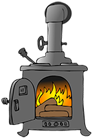 tiny pot-bellied wood stove vector